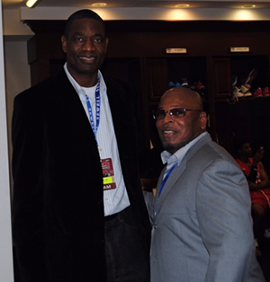 Gary Moore, Founder and Dikembe Mutombo, Global Ambassador of NBA, after the SMU v. UCONN game on January 4, 2014